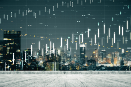Night city rooftop background with forex chart. Trade and finance concept. Double exposure