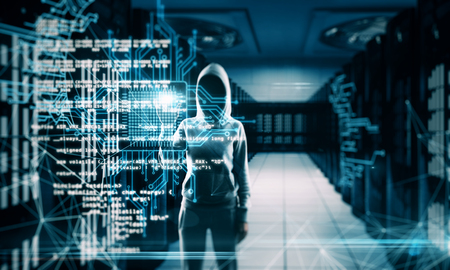 Hacker with creative coding lines on blurry server room background. Programming and criminal concept. Multiexposure