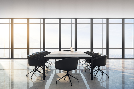 Modern meeting room interior with panoramic city view, furniture, laptop on desktop and daylight. Toned image. 3D Rendering