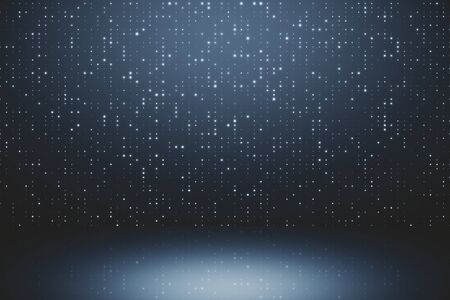 Digital grey background with sparkle mesh circuit. 3D Rendering