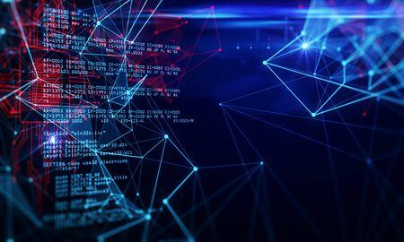 Fondo de codificación de circuito brillante abstracto. Concepto de programación y tecnología. Representación 3D