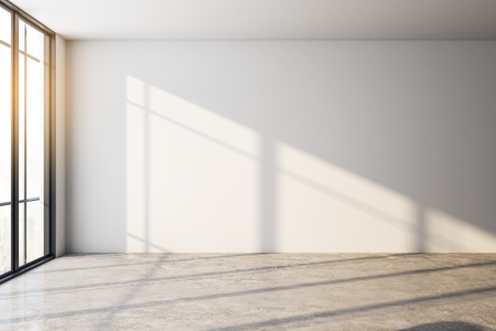 Empty interior with shadows, daylight and copy space on white wall. Mock up, 3D Rendering Stock Photo