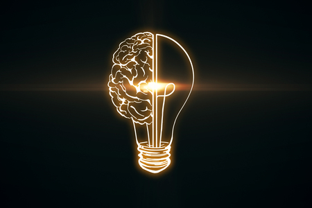 Creative glowing lamp brain on black wallpaper. Innovation and AI concept. 3D Rendering