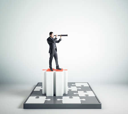 Businessman with telescope looking into the distance on abstract jigsaw pedestal on white background. Success, quiz and vision concept