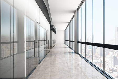 Modern glass office corridor with reflections and panoramic city view. 3D Rendering