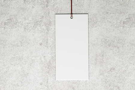 Blank price tag on light concrete background. Shop, sales and trade concept. Mock up, 3D Rendering Stock fotó - 123065167