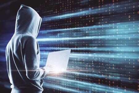 Side view of young hacker using laptop on digital background. Big data and theft concept. Multiexposure