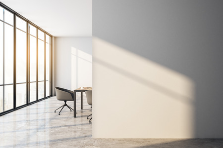 Contemporary meeting room interior with empty copyspace on wall, city view and furniture. Mock up, 3D Rendering 写真素材
