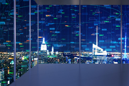 Minimalistic interior with night New York city view and forex chart on windows. Trade and innovation concept. Double exposure Stock Photo