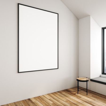 Side view of empty billboard in concrete interior with chair, city view and wooden floor. Mock up, 3D Rendering