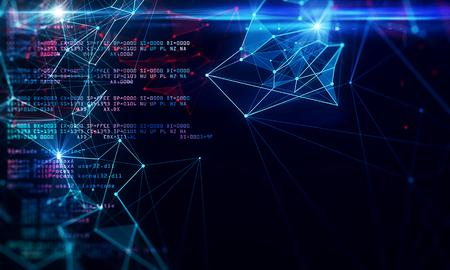 Fondo de codificación oscuro creativo con texto. Programación y concepto futuro. Representación 3D