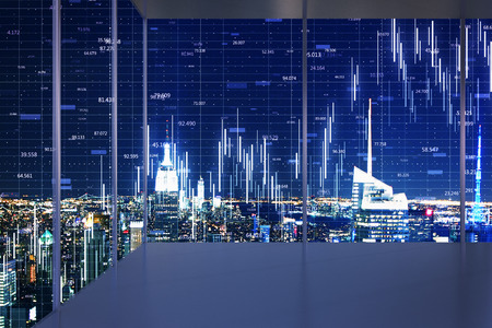Minimalistic interior with night New York city view and forex chart on windows. Trade and stats concept. Double exposure Stock Photo