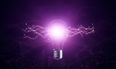 Creative glowing lamp on dark background. Idea and innovation concept. 3D Rendering Stock Photo