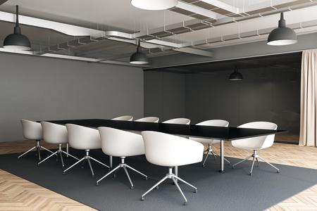 Zijaanzicht van moderne vergaderruimte interieur met meubilair. 3D-rendering Stockfoto