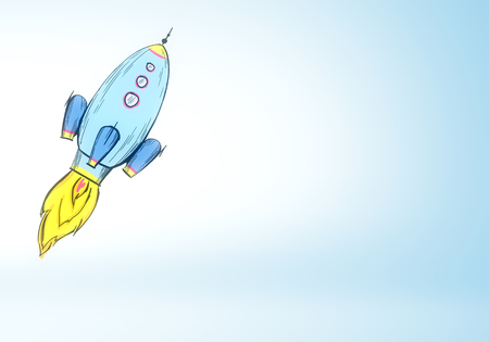 Creative launching blue rocket sketch on subtle background. Startup and career concept