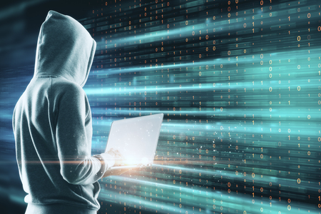 Side view of young hacker using laptop on digital background. Big data and malware concept. Multiexposure