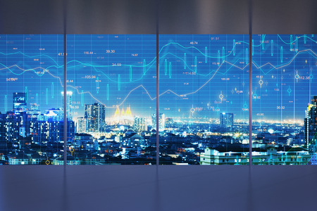 Minimalistic interior with night New York city view and forex chart on windows. Trade and finance concept. Multiexposure