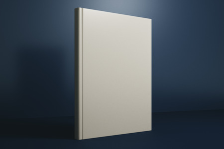 Clean white hardcover book on dark blue background. Mock up, 3D Rendering Фото со стока