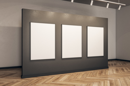 Contemporary gallery interior with empty frame and wooden floor. Museum and exhibition concept. Mock up, 3D Rendering Stockfoto
