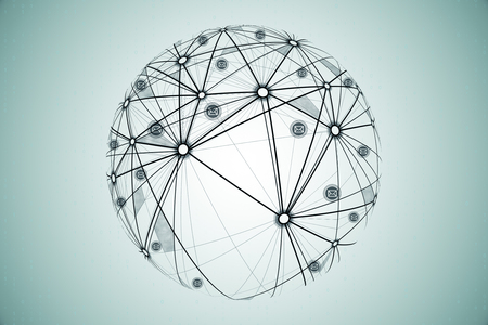 Sieć społeczna i globalna koncepcja. Ręcznie rysowane kula ziemska na subtelnym tle, renderowanie 3D