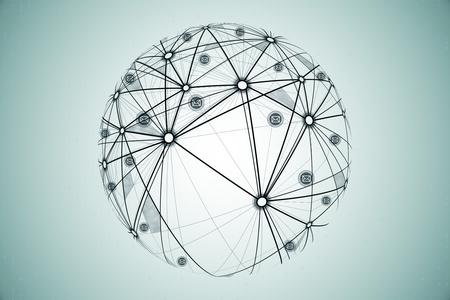 Sociaal netwerk en globaal concept. Handgetekende wereldbol op subtiele achtergrond, 3D-rendering