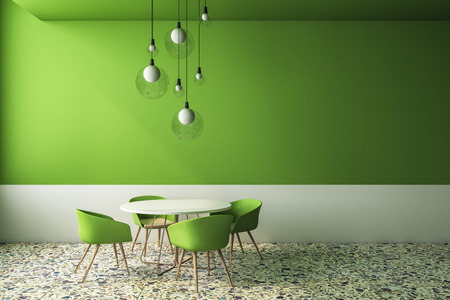 Luxury green cafe interior with furniture and lamps. Style and design concept. 3D Rendering