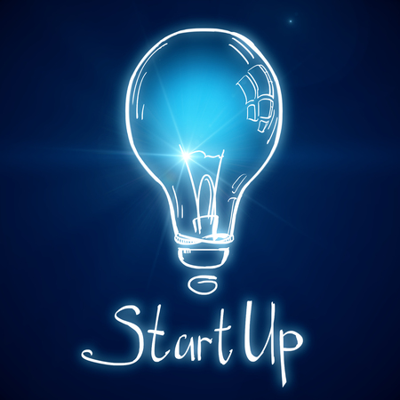 Creative glownig blue startup lamp on blurry background. Start up and idea concept. 3D Rendering