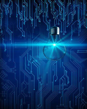 Lámpara de circuito que brilla intensamente creativo sobre fondo oscuro. Concepto de tecnología e idea. Representación 3D Foto de archivo