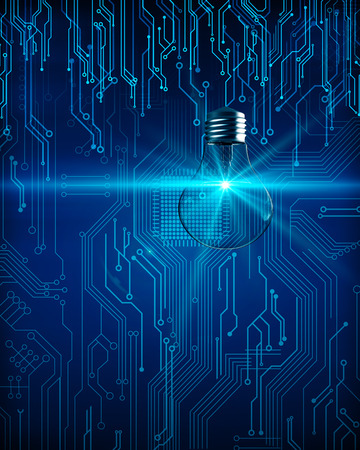 Lampe de circuit lumineux créatif sur fond sombre. Concept de technologie et d'idée. Rendu 3D Banque d'images