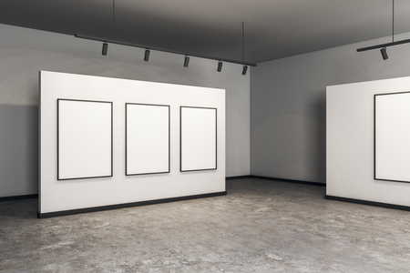 Modern gallery interior with white frame and concrete floor. Museum and exhibition concept. Mock up, 3D Rendering