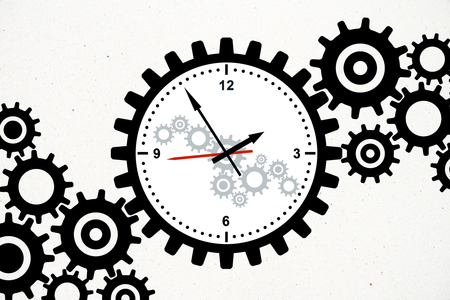 Creative gear cogwheel clock sketch on subtle white background. Time management and dial concept, 3D Rendering