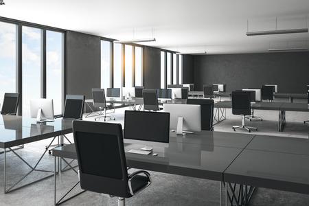 Interiore dell'ufficio di coworking in cemento minimalista con vista sulla città e luce del giorno. Concetto di posto di lavoro. Rendering 3D Archivio Fotografico
