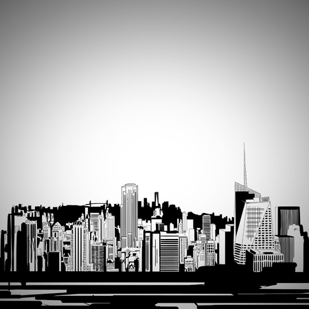 Creative city sketch background with buildings and skyscrapers. Urban concept.  3D Rendering