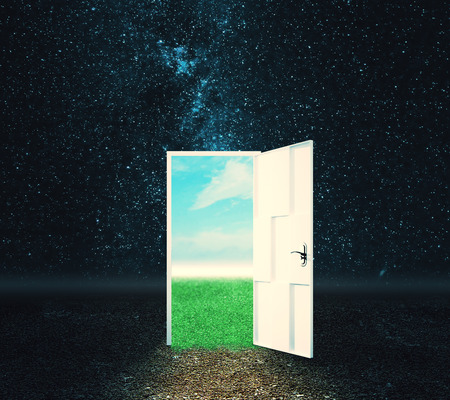 Creative opportunity door on abstract outdoor sky landscape background. Success and future concept