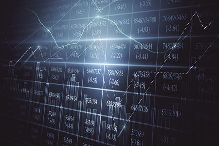 Creative forex chart screen with index. Trade and finance concept. 3D Rendering Imagens