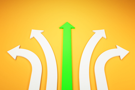 Abstract white and green arrows on yellow background. Different direction and choice concept. 3D Rendering