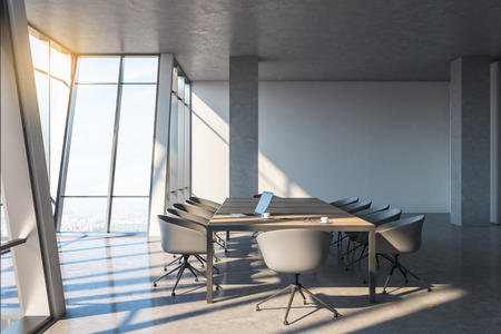 Contemporary conference room interior with furniture, panoramic city view, daylight and shadows. 3D Rendering