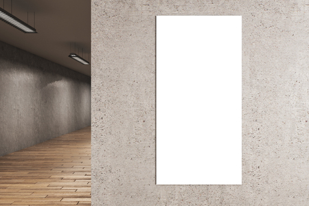 Interior with empty white billboard on concrete wall. Gallery concept. Mock up, 3D Rendering