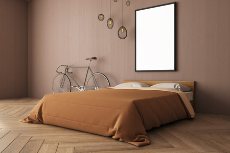 Modern bedroom interior with bicycle, empty banner on brown wall, bed, lamps and wooden floor. Design concept. Mock up, 3D Rendering