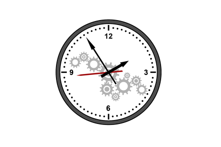 Creative gear cogwheel clock sketch on subtle white background. Time management and hour concept. 3D Rendering 版權商用圖片
