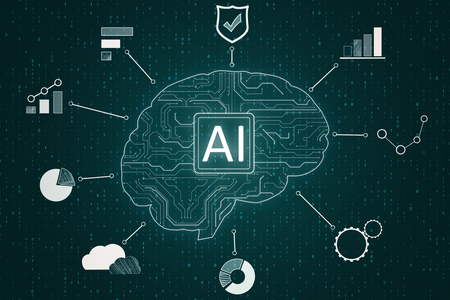 Creative ai circuit brain with icons. Artificial intelligence and innovation concept. 3D Rendering