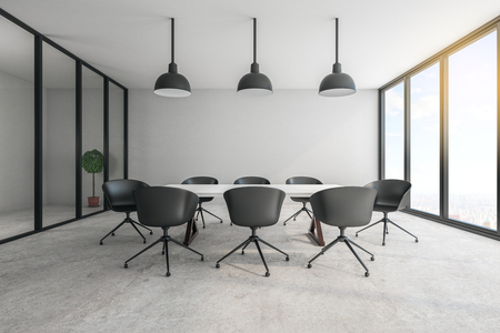 Contemporary meeting room interior with furniture, concrete floor, city view and daylight. Workplace concept. 3D Rendering Imagens - 124293459