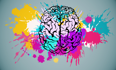 Abstract colorful splatter brain drawing on subtle background. Brainstorm and art concet. 3D Rendering 版權商用圖片 - 124293470