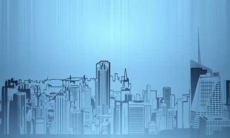Creative New York city sketch on dark blue background. Urban concept. 3D Rendering