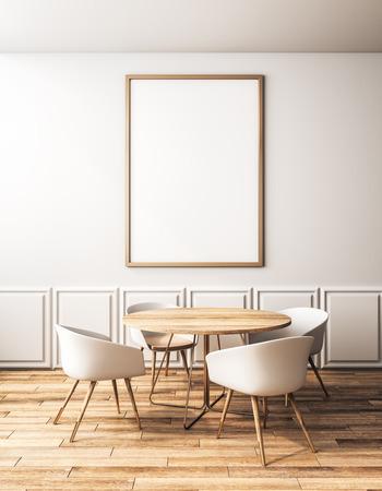 Modern klassiek café-interieur met meubels en lege banner aan de muur. Stijl en ontwerpconcept. 3D-rendering Stockfoto