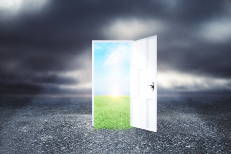 Creative opportunity door on abstract outdoor sky landscape background. Success and imagination concept
