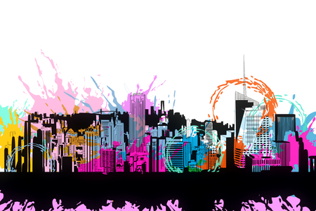 Creative bright city doodle with colorful ink splatter on subtle white background. 3D Rendering 版權商用圖片