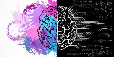 Dessin cérébral créatif avec des formules mathématiques et des éclaboussures de peinture. Concept d'art et d'esprit. Rendu 3D