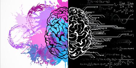 Dibujo de cerebro creativo con fórmulas matemáticas y salpicaduras de pintura. Concepto de arte y mente. Representación 3D
