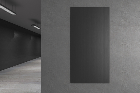 Interior with empty grey banner on concrete wall. Gallery concept. Mock up, 3D Rendering
